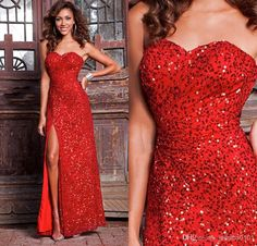 Wholesale Evening Gowns - Buy 2014 New Arrival Sweetheart Red Sexy Prom Dresses Sequin Sparkling Design Floor Length Evening Dresses Gowns for Event, $76.63 | DHgate