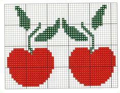 Manzanitas Tiny Cross Stitch, Cross Stitch Kitchen, Simple Cross Stitch, Cross Stitch Designs, Cross Stitch Patterns, Crochet Patterns, Cross Stitching, Cross Stitch Embroidery, Crochet Fruit