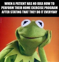 Kermit the frog, this guy is so friendly, loyal and just all round nice! Performed by the legendary Jim Henson {I still love Kermit} Digimon, Physical Therapy Humor, Physical Therapist, Occupational Therapy, Sapo Kermit, Ot Memes, Funny Memes, The Muppet Movie, Muppet Meme