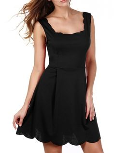 Waving Hem Sleeveless Square Neckline Solid Color A Line Dress Backless Party Dress on buytrends.com