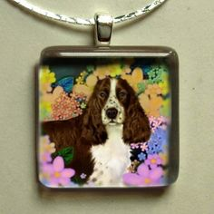 brown ENGLISH SPRINGER SPANIEL dog necklace jewelry by evadesigns
