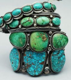 Turquoise jewelry: Old and new turquoise and silver Navajo bracelets.