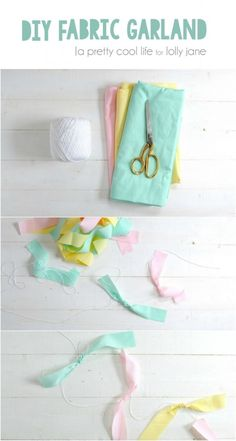 DIY Home Decor | Love this easy fabric garland using fabric scraps and twine. Easy home decor idea, cute kids craft!
