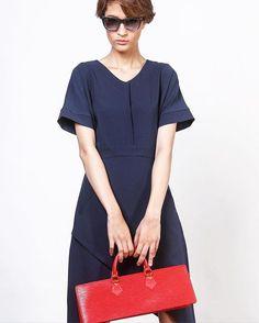 Wrap Dress (D2349NA) 1,890.- www.mmchic-th.com | LINE ID: @mmchic #womenwear #dress #fashion #style #chic #navydress #wrapdress…