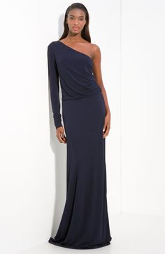 love this!!  Halston Heritage Jersey One Shoulder Gown available at Nordstrom