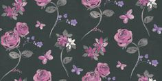 Albany Fashion (240214) - Albany Wallpapers - A pretty rose floral all over design with little butterflies. Shwon in sugar pinks and lilacs with grey leaves and fine silver detail set again a matt black background. Please request sample for true colour match.
