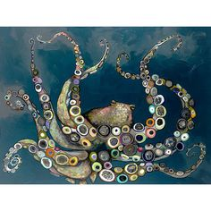 """GreenBox Art 'Octopus in the Deep Blue Sea"""" by Eli Halpin Painting Print on Wrapped Canvas"""