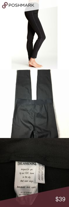 Blank NYC Skinny Jean Legging Black High Waist Amazing condition barely worn at all.   Blank NYC Skinny Jean Legging Sz 25 Black Faux Leather Stripe Stretch High Waist   Cute Faux leather Stripe Sold at Nordstrom  DETAILS 