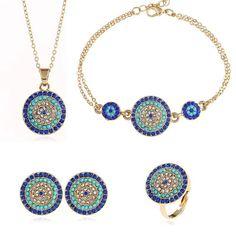 Set de 4 bijuterii moderne pentru femei, cu pandantiv rotund, cercei, bratara si inel Evil Eye Jewelry, Evil Eye Necklace, Evil Eye Charm, Bridal Jewelry Sets, Ring Earrings, Ring Bracelet, Earring Set, Jewelry Bracelets, Fashion Jewelry