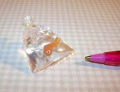 Miniature Pet Store Goldfish Gold Fish in Baggie: DOLLHOUSE Miniatures 1/12