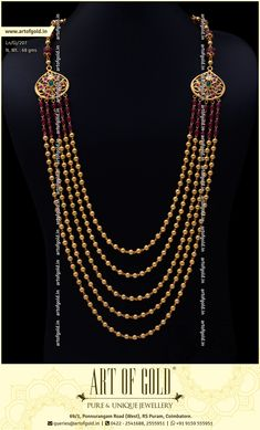 Traditional Chandra Haram with Gold Beads & Kemp Stone Beads. Browse ous sire for more Chandra Haram designs.