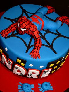Spiderman Cake looks  to be  PERFESSIONALLY done  by  hand  and  it  looks  to  me  it  would  have  taken  about  an  hour  and  a  half  to  do  in  detail.