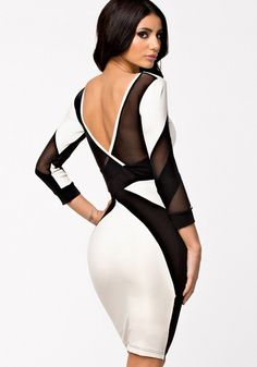 Love this Dress Design! Love Black and White! Super Sexy Black and White Patchwork Party Dress #Sexy #Black_and_White #Party #Dress #Fashion