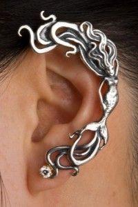 Silver Wave Rider Mermaid Ear Wrap .:!:.