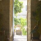 The sunlit courtyard of the St. Louis French Hospital in Jerusalem. (photo credit: Moti Tufeld)