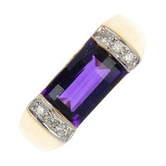 An 18ct Gold, Amethyst and Diamond ring. The rectangular-shape Amethyst, within a bar setting, to the brilliant-cut Diamond line sides. Hallmarks for Sheffield. Weight 5.5gms.