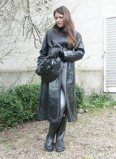 Plastic Raincoat, Pvc Raincoat, Rubber Raincoats, Rain Gear, Weather Wear, Black Rubber, Outfit Posts, Rain Boots, Women Wear