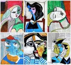 Mixed Media Portraits by Picasso - Newspaper - Book Pages - Oil Pastel - Paint - Marker - Abstract - Cubism - Art Project for Kids - Art History