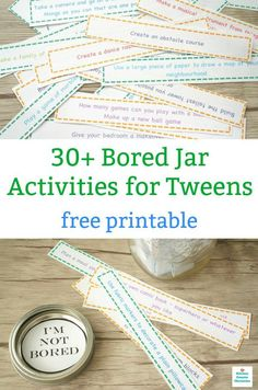 I'm Bored Jar Activities for Tweens - Free Printable - I'm bored! Print off our bored jar activities for tweens. A jar packed full of activities to keep - Bored Jar, Bored Kids, Im Bored, Dope Swag, Jar Image, Things To Do When Bored, Summer Fun List, Summer Activities For Kids, Kid Activities