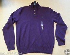 #men sweater for sale POLO Ralph Lauren dark purple size M men cotton sweater NWT button neck RalphLauren withing our EBAY store at  http://stores.ebay.com/esquirestore