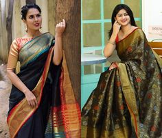 Want to know how to style your traditional black sarees in most perfect way? Do check out these inspiring sarees styles. Indian Sarees, Silk Sarees, New Dress Design Indian, Saree With Belt, House Of Blouse, New Designer Dresses, Black Saree, Blouse Neck Designs, Saree Look