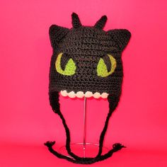 Crochet Pattern PDF Toothless Hat - for purchase. Beanie and Earflap. (All Sizes Included: Newborn to Adult). Permission to sell finished items.