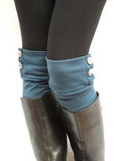 buttoned leg warmers. love these! And love the look of socks sticking out of boots!!