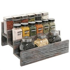 Rustic Style 3 Tier Stair Step Design Distressed Wood Spice Rack Jar Storage ORG for sale online Spice Rack Rustic, Spice Rack Holder, Step Shelves, Cabinet Spice Rack, Spice Organization, Bedroom Organization, Organizing, Steps Design, Kitchen Storage Solutions