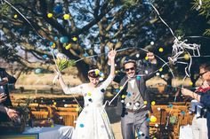 I kind of like pom poms, instead of rice. This photographer is awesome. Their whole wedding looks amazing. Our Wedding Day, Wedding Looks, Farm Wedding, Farm Backdrop, Farm Theme, Streamers, Wedding Inspiration, Wedding Ideas, Confetti