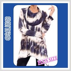 🆕PLUS Size Tye Dye Exaggerated Turtleneck Tunic New plus size Tye dye turtleneck top/sweater that might be the most best top I've ever seen. It's exaggerated neckline adds so much character and the Tye dye is right on trend. Material: Rayon & Spandex Blend; Sizes: XXL, XXXL only left                                                                                                            Color: Ivory/ Navy Tye dye; MADE IN USA FITS TRUE TO SIZE Glam Squad 2 You Tops