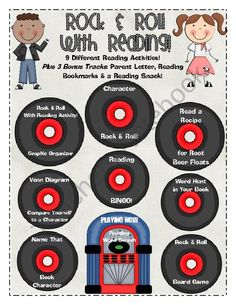 Rock and Roll with Reading! from Rebecca's Store on TeachersNotebook.com (24 pages)  - Celebrate reading in your classroom by Rock and Roll with Reading activities!