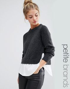 This is styled for me, it is a Noisy May Petite 2 In 1 Sweater Shirt. Love it.