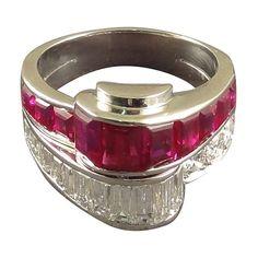 Oscar Heyman 1950s Baguette Ruby Diamond Cocktail Ring. Very Fine Ruby & Diamond Ring mounted in Platinum, Oscar Heyman, New York made circa 1950