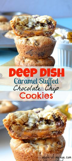 Dish Caramel Stuffed Chocolate Chip Cookies Filled with half-baked cookie dough and caramel.Filled with half-baked cookie dough and caramel. Mini Desserts, Cookie Desserts, Just Desserts, Cookie Recipes, Delicious Desserts, Dessert Recipes, Yummy Food, Homemade Desserts, Plated Desserts