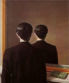 La Reproduction Interdit  화가 르네 마그리트(Rene Magritte, 1898~1967)   항상 부조리한 현실을 우화적으로 비꼬는 한편 눈으로 보이는 것들의 이미지와 존재에 대해 의문부호를 달았던 마그리트의 이런 생각을 또렷하게 보여주는 작품이 있다.     바로 그의 '재현되지 않다'(1937년, Museum Boymans-van Beuningen, Rotterdam 소장)라는 작품이 그것이다. 거울 앞에 한 남자가 등을 보이고 서있다. 하지만 거울에 비친 남자의 모습은 여전히 뒷면이다. 정상적인 거울에서라면 분명 얼굴이 거울에 비쳐야 하는 데 말이다.     즉 거울에 비친 사람은 자신이 아니라 또 다른 누구라는 가설이 성립된다. 이런 부조리하지만 부조리함을 인식하지 못하는 그림