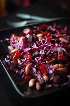 Red Cabbage Beet & Bean Salad: 1 cup finely shredded red cabbage cup roasted beets cup boiled pinto beans pitted candied cherries Dressing 1 tbsp extra virgin olive oil 1 tbsp balsamic creme or balsamic reduction black salt or 'kala namak' for taste Potluck Side Dishes, Healthy Side Dishes, Cabbage Salad, Red Cabbage, Cooking Recipes, Healthy Recipes, Roasted Beets, Cabbage Recipes, Bean Salad