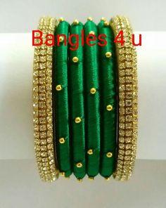 #wedding #silk #silk thread bangles #silk thread #jewellery #bangels Kundan Bangles, Silk Bangles, Bridal Bangles, Silk Thread Bangles Design, Thread Jewellery, Diy Fashion Hacks, Bangles Making, Silk Art, Beaded Anklets