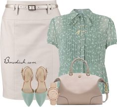 Simple casual blouse with skirt work outfit bmodish