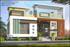 Call and WhatsApp 9834181045 chviz- Call and WhatsApp 9834181045 Small Two Storey House Design - 2 Story 1037 sqft-Home House Design with 3 Bedrooms Terrace Roof - House Plans Small House Design Plans with 2 Bedrooms - House Plans Sam Single Fl. Single Floor House Design, House Front Design, Small House Design, Modern House Design, Modern Houses, 2 Storey House Design, Two Storey House, House Architecture Styles, Village House Design