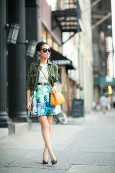 Favorites :: Cropped utility jacket & Little Sammie :: Outfit ::  Jacket :: Zara  Dress :: Zara  Shoes :: Christian Louboutin Bag :: Fendi  Accessories :: Tibi belt, Karen Walker sunglasses Published: August 27, 2014
