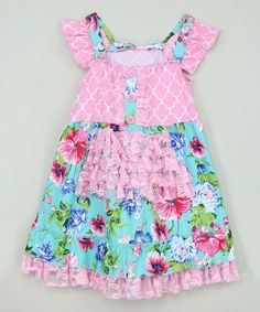 Look at this Pink & Aqua Floral Angel-Sleeve Dress - Infant, Toddler & Girls on #zulily today!