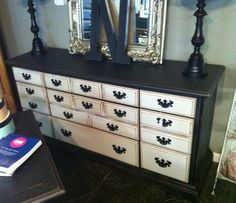 Huge black and white distressed dresser