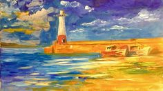 """Light House Acrylic painting for beginners  is a full step by step learn to paint in acrylic lesson from the clive5art studio in Wales  It's easy to follow in acrylics let CLIVE  show you step by step how to paint an easy  Light House Acrylic painting this is the video for you!!   Standard brushes used during the lesson by various manufacturers  Selection of Short Flats 1"""" 1/2""""  Rounds from 0.1 up to no 4 Filberts from no2 up to no 8  Clive5art Brushes go to www.clive5art.co.uk Blender 1""""…"""