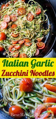 Italian Zucchini Noodles with Garlic, Tomato, Parmesan - Healthy Garlic Tomato Zucchini Noodles Recipe Healthy Noodle Recipes, Zucchini Noodle Recipes, Zoodle Recipes, Garlic Recipes, Veggie Recipes, Vegetarian Recipes, Vegetarian Zucchini Recipes, Healthy Italian Recipes, Parmesan Recipes