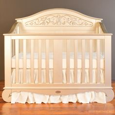 Simply the most gorgeous baby crib ever.  Bratt Decor's chelsea lifetime crib in antique silver.  It converts to a toddler bed, love seat and full bed.  See more: brattdecor.com #nursery #furniturehardwood cribs luxury designer cot