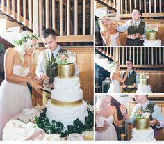 Cake cutting, gold, fresh flowers, etsy cake topper, Nashville Wedding Photographers   High Five For Love   Whimsical Bohemian Wedding   Mint Springs Farm