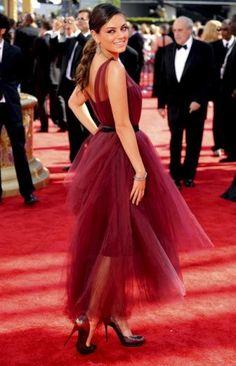 Mila Kunis Burgundy Prom Dress 2009 Primetime Emmy Awards Red Carpet Dress  celeblish.com Red 7ba5e106cb2b