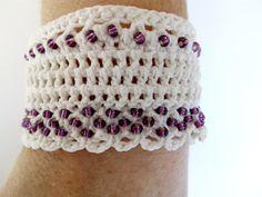 Crochet Bracelet Pattern White Wristband Wedding by DesignByIrenne