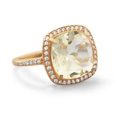 Green Amethyst and CZ Ring in Rose Gold Plating