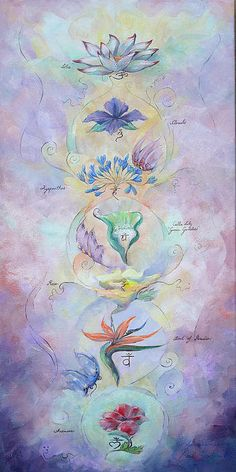 °Chakra Energy Centers with Flowers by Spielarts Prints